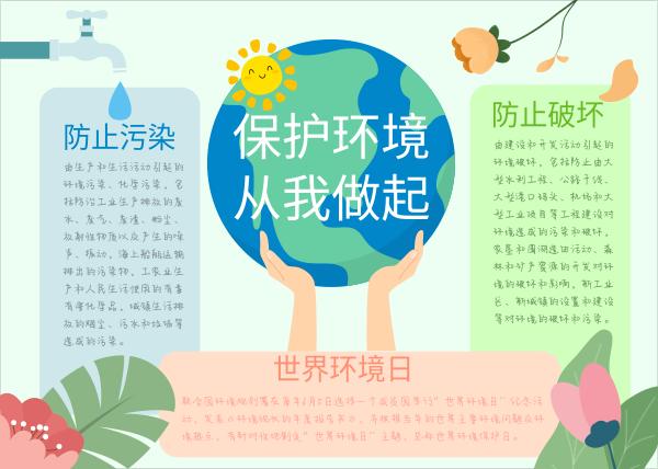 绿色卡通世界环境日手抄报模板
