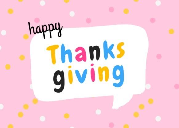 感恩节祝福感谢可爱粉色