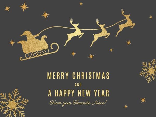 圣诞节快乐祝福圣诞老人金色艺术