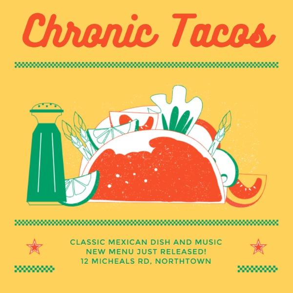 黄色墨西哥卷饼主题餐饮海报