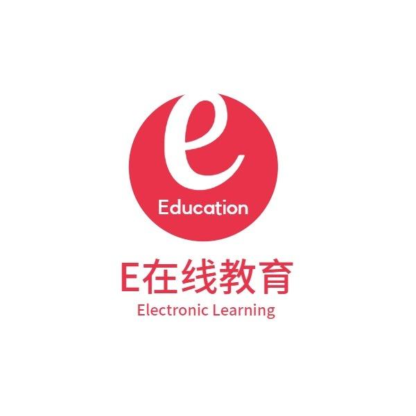 在线教育培训学习互联网简约红色白色