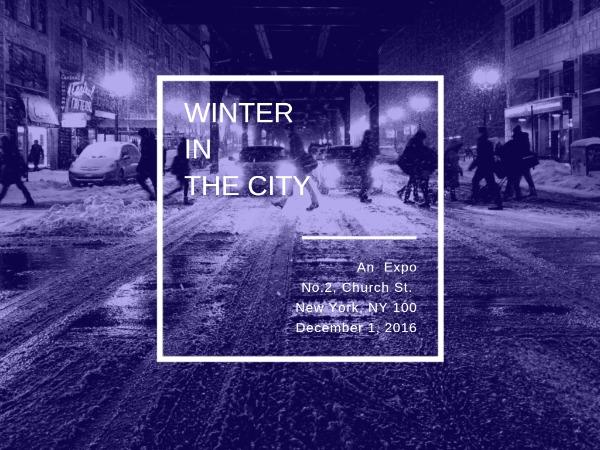 城市寒冬紫色简约