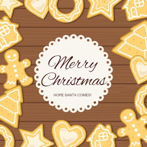 褐色圣诞节小饼干主体海报