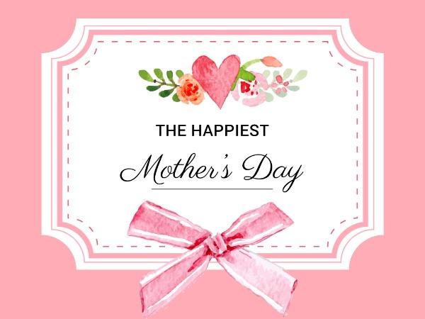 母亲节快乐感恩祝福花朵粉红色简约