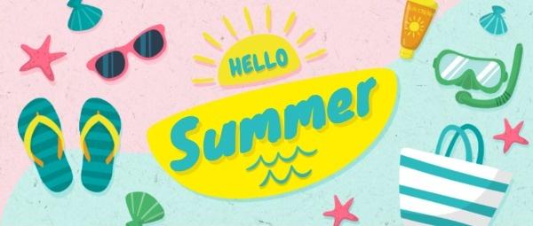 夏天海边旅游卡通插画