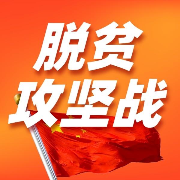 党政政务脱贫攻坚红色国旗宣传