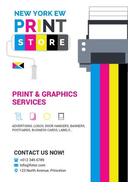 打印服务英文海报