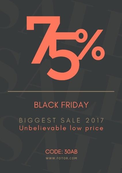黑色星期五促销折扣购物节橙色欧式