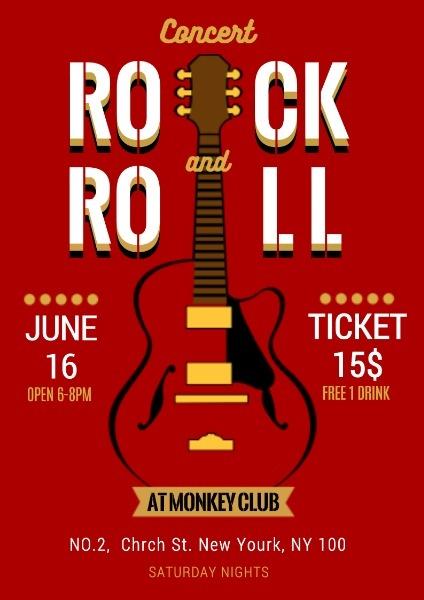 摇滚音乐节宣传推广红色怀旧