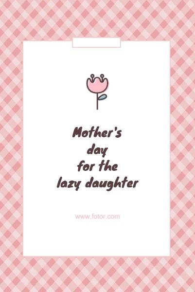 粉色卡通母亲节贺卡