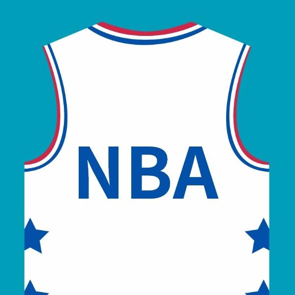 白色t恤NBA全明星矢量图