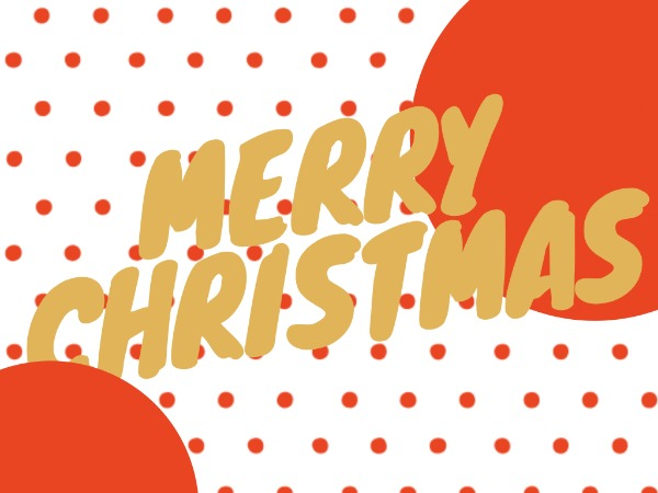 圣诞节快乐祝福波点白色简约