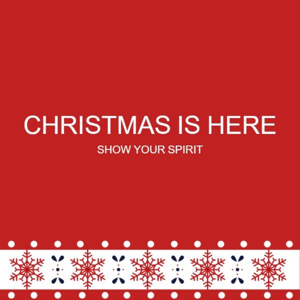 红色圣诞节简约花边海报