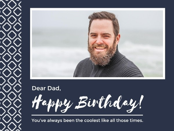Blue Father's Happy Birthday Wishes Card