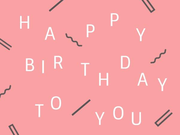 生日快乐祝福几何图形白色简约