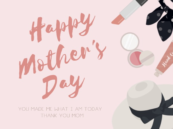 母亲节快乐感恩祝福化妆品粉色卡通