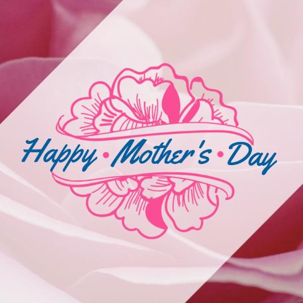 粉色母亲节手绘花朵贺卡海报
