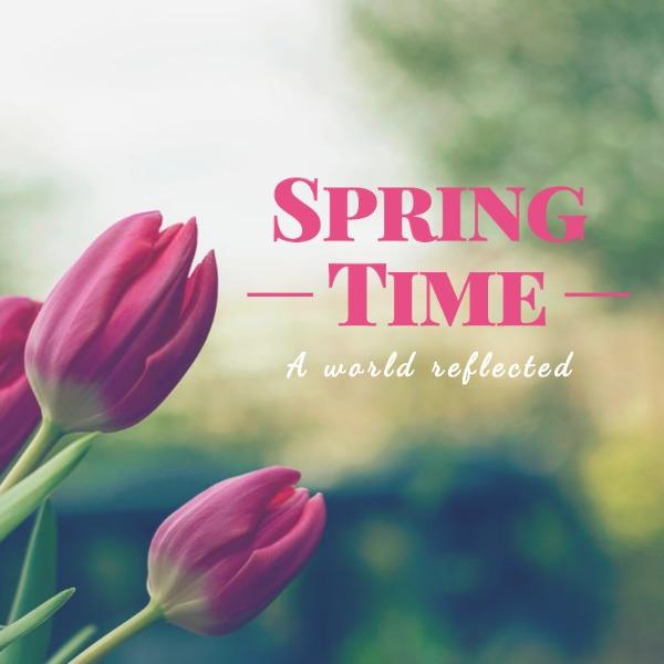 绿色春季花朵海报