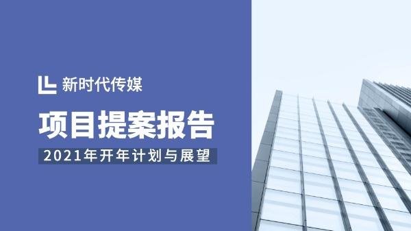 企业项目提案报告分析总结蓝色图文