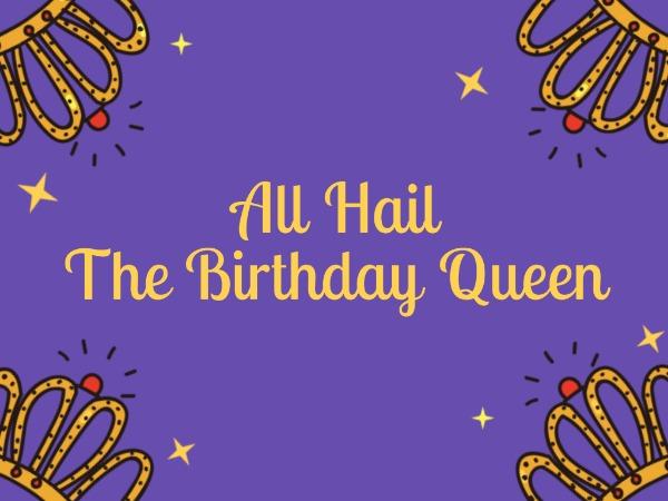 生日快乐祝福女王万岁紫色卡通