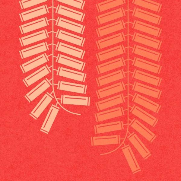 红色插画鞭炮