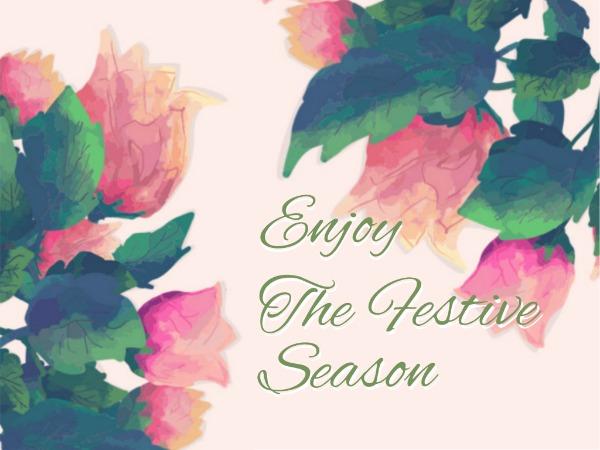 感恩節快樂祝愿紅花粉色文藝