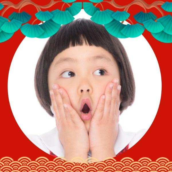 春节新年中国风国潮云纹中式红色头像
