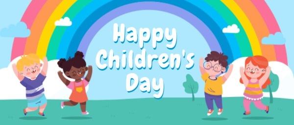 儿童节快乐卡通插画