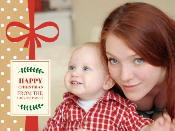圣诞节快乐祝福母子温情蝴蝶结暖色简约