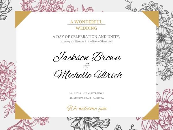 婚礼爱情邀请甜蜜花朵白色小资