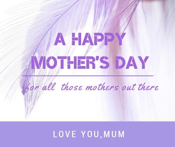 紫色简约母亲节主题海报