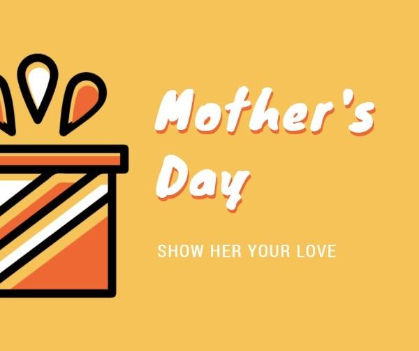 橙色母亲节卡通礼盒海报