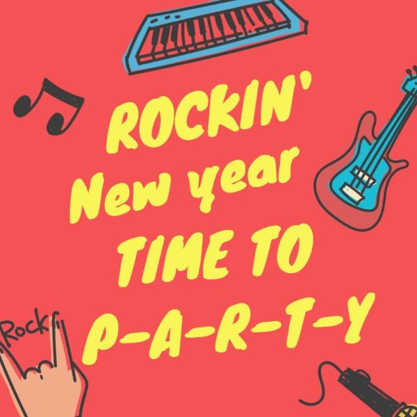 红色摇滚新年聚会海报