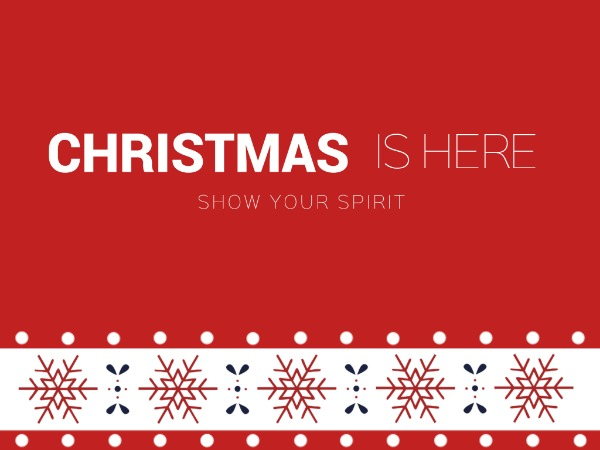 圣诞节快乐祝福雪花红色简约