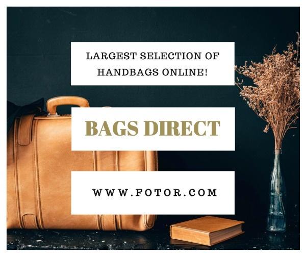 褐色背包购物主题海报