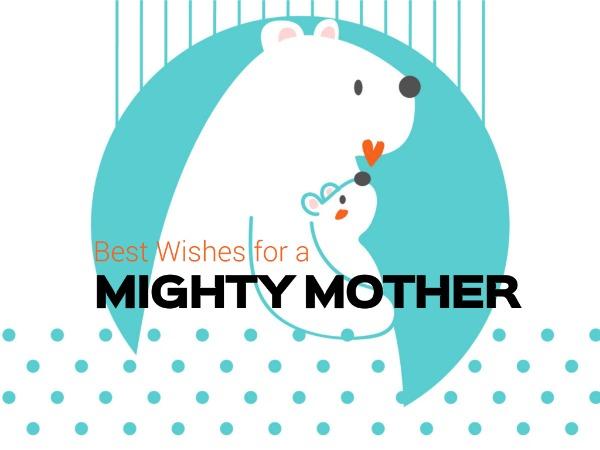 母亲节快乐感恩祝福北极熊白色卡通