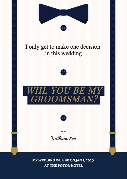 伴郎邀请函 Groomsman Invitation