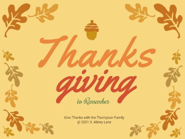 感恩节快乐祝愿松果黄色手绘