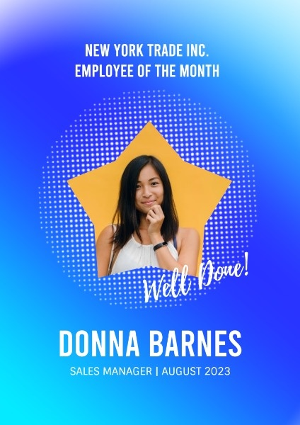 Simple Blue Employee Of The Month