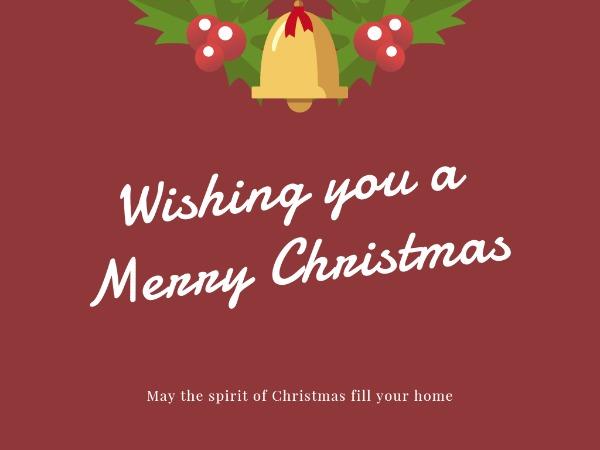 圣诞节快乐祝福铃铛红色卡通
