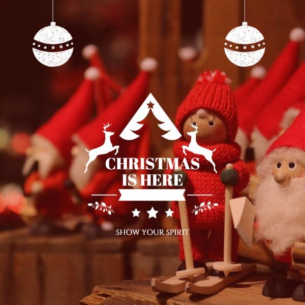 红色圣诞节娃娃布偶主题海报
