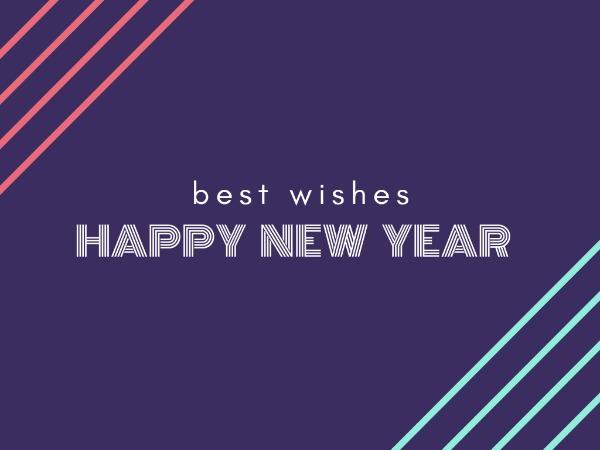 新年快乐祝福蓝色简约