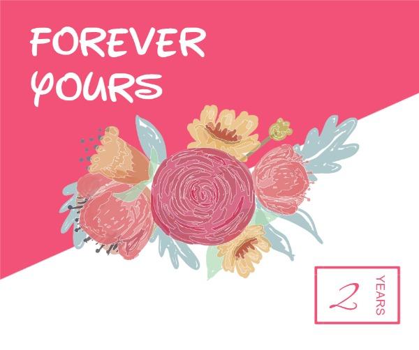 粉色两周年主题贺卡