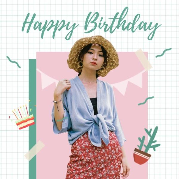 粉色小清新生日快乐