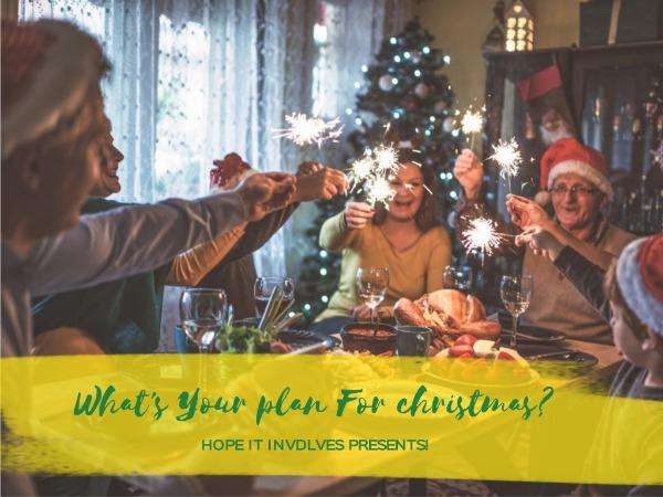圣诞节快乐祝福家庭烟花黄色简约