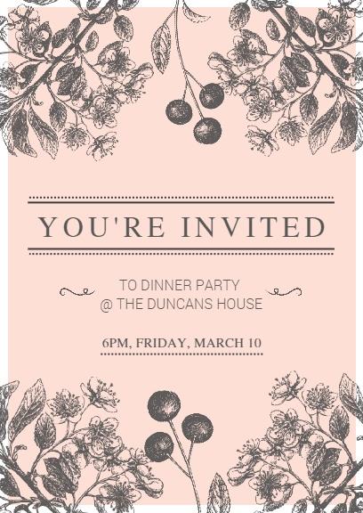 Pink Floral Invitation Card