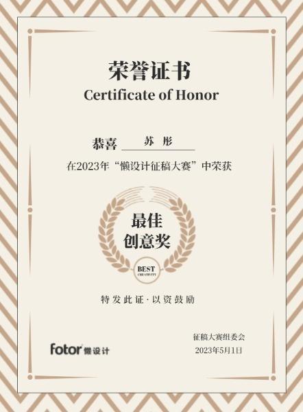 简约获奖荣誉证书