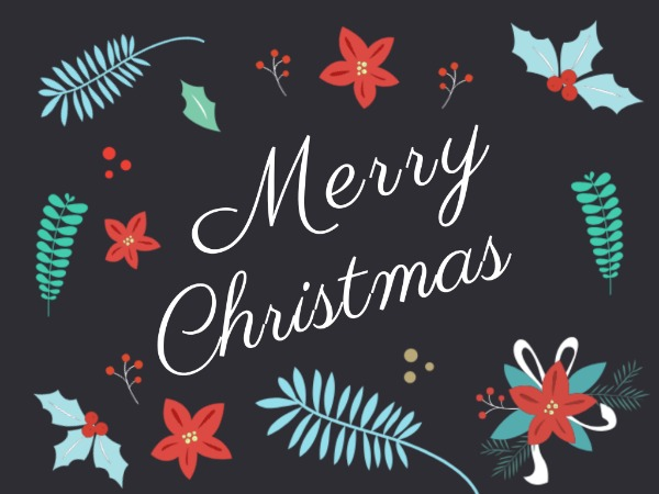 圣诞节快乐祝福红花黑色简约