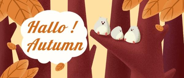 秋天节气问候落叶插画