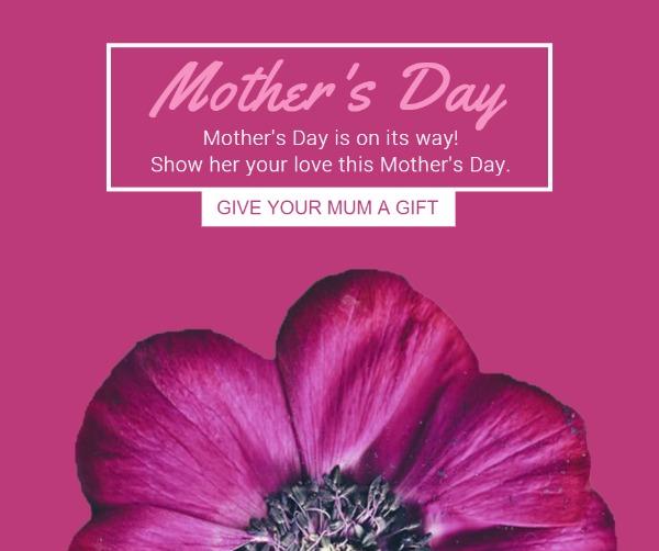 粉色母亲节花朵主题贺卡